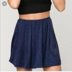 Brandy Navy Blue Faux Suede Skirt